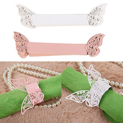 50Pcs Butterfly Heart Napkin Rings Paper Holder Table Party Wedding Decor