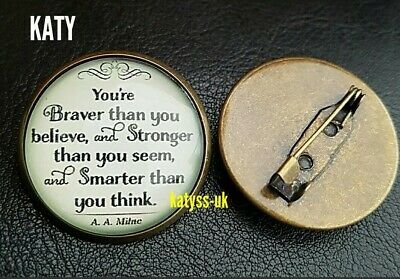 Vintage Style Round Small Brooch Pins Glass Cabochon Famous Quote Copper Badge