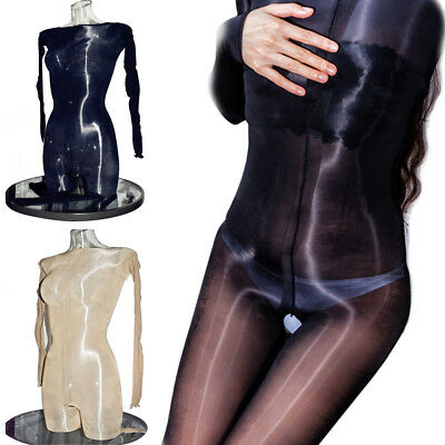 Plus Size Full Bodystocking Glanz Langarm Bodysuit Nylon Playsuit Ouvert Catsuit