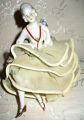 Victorian Lady Porcelain Pin Cushion and she still has her LEGS! RARE to find.