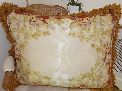"""MULBERRY HOME Silk/Cotton CUSHION French Rococo 26""""x22"""" FEATHER PAD Ex Cond 2AV"""