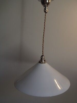 Rewired tested Edwardian H 12cm Milk Hand Spun Coulis Glass Pendant