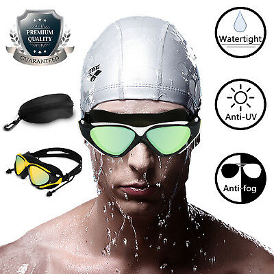 Swimming Goggles Anti UV Fog Protection Clear Glasses Earplugs Adjustable Mask