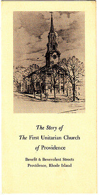 The Story of The First Unitarian Church of Providence Rhode Island 1962 Brochure