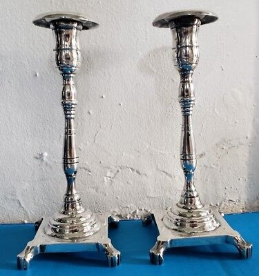 Pair Silver Plate Period Lion Foot Candlesticks Candle Stick Candleholder