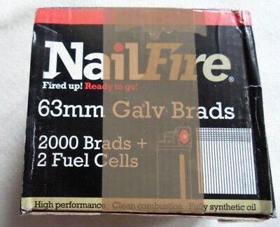 NailFire 63mm Galv Brads 2000 Brads + 2 Fuel Cells