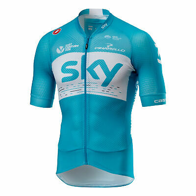 84f0262b4 Team Sky Climbers 2.0 Short Sleeve Full Zip Jersey Shirt White Mens Cycling  TDF