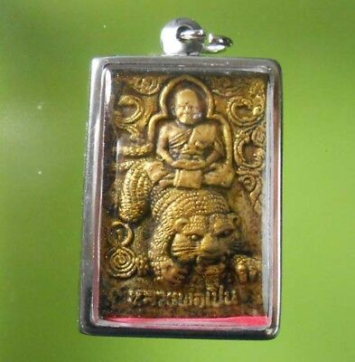 Perfect! Lp Pern With Tiger Back Hanuman Thai Buddha Amulet Real Rare