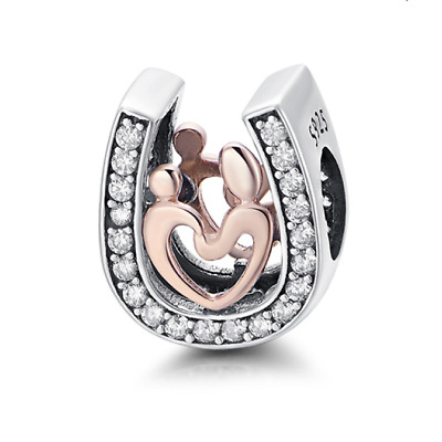 S925 Silver & 14k Rose Gold Mother Child Horse Shoe Charm by Pandora's Angels