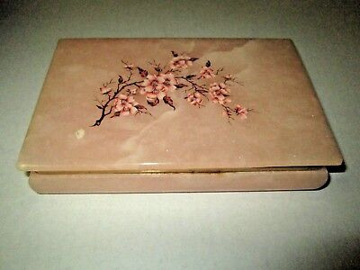 Genuine ALABASTER Marble Hand Carved Trinket Box with Lid Made In Italy
