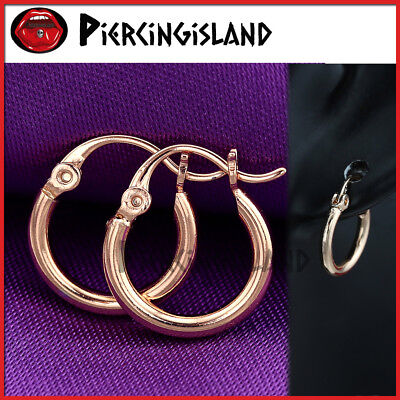 9K Rose Gold Filled Solid Small Round Ring Band Plain Hoop Sleeper Earrings Gift