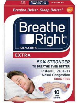 Breathe Right One Size Adult Nasal Strips Extra 10 Tan Strips Sealed