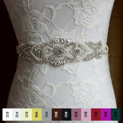 Hot  Bridal Sash Wedding Dress Sash  Beaded Belt Crystal Rhinestones Waist Belt