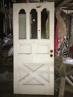 "Shabby Gothic Victorian Exterior Door, Weathered Worn Paint 80"" x 35"""