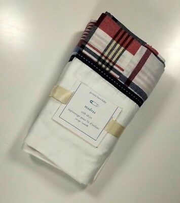 Pottery Barn Baby Madras Crib Bed Skirt Blue & Red Plaid 16 Inch Drop New