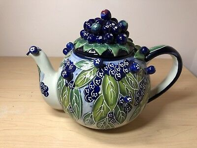 Blue Sky Clayworks Jeanette McCall Icing on the Cake Blueberry Tea Pot
