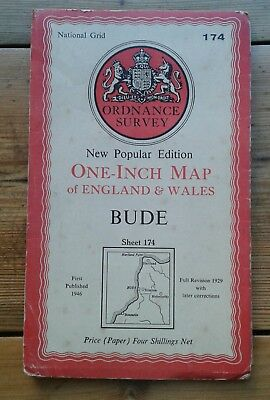 Ordnance Survey One Inch Map Bude Sheet 174 1946 Old Vintage Cornwall