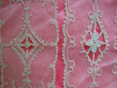 2 Antique Tambour Lace French Net Doilies Small 4 1/2 X 11 1/2