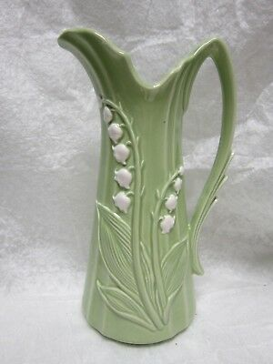 Vintage Ceramic Creamer Or Vase Lily Of The Valley Bell Flowers Retro Art Deco