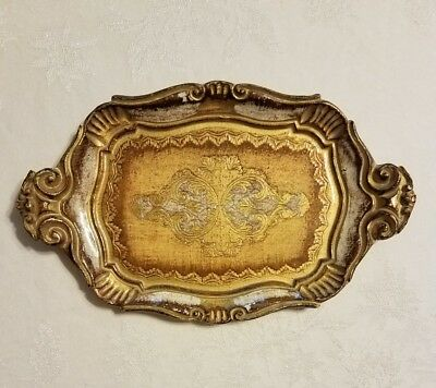 Vintage Florentine Italian Wood Dresser or Serving Tray Gold and yellow Italy