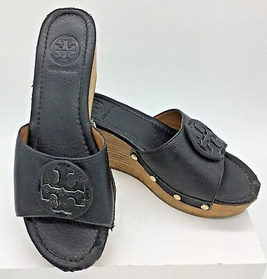 2291451c118d5 TORY BURCH WEDGE Tan Leather Wedge Square Reva Loafers Heels Rounded ...