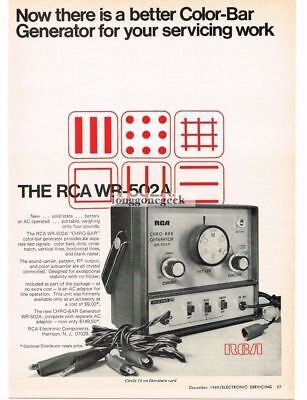 1969 RCA WR-502A Color Bar Generator TV Service Equipment Vtg Print Ad