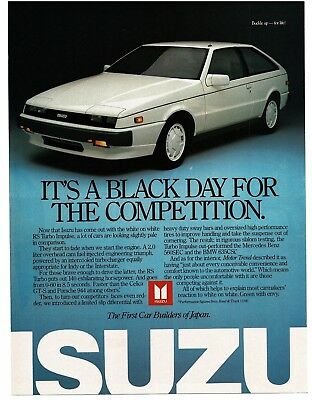 1987 Isuzu RS TURBO IMPULSE White 2-door Coupe Sports Car VTG PRINT AD
