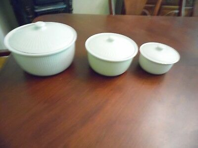 Vintage Coors Ceramics White 6 Pc Casserole Bakers With Lids Nesting Bowls RARE