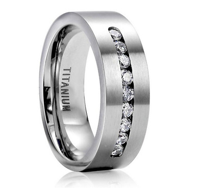 8MM Fashion 316L Stainless Steel Titanium Wedding Engagement Band Ring Size6-13