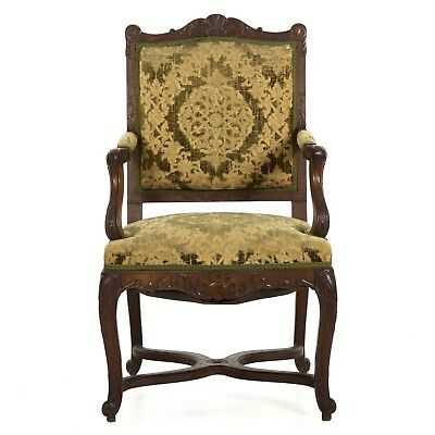 19th Century Antique Arm Chair in French Louis XV Style | Hand Carved Walnut