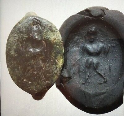 ANCIENT GREEK BRONZE SEAL HEAD OF RING, HERCULES Apr 300BC #36 VERY COLLECTABLE.