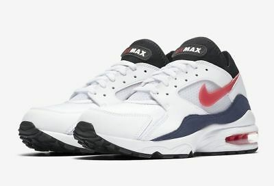 online store 2502b 34b23 Mens Nike Air Max 93 Running Shoes WhiteHabanero RedNeutral Indigo 306551  102