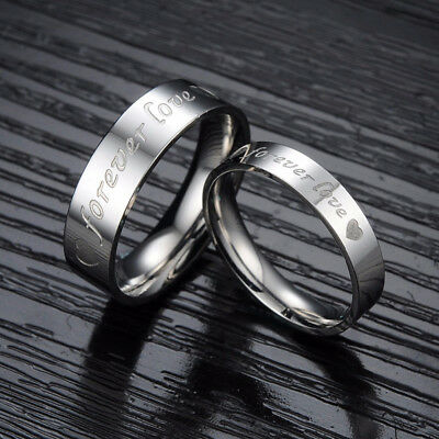 Silver Engraved Couple Rings for Lover FOREVER LOVE Romatic Valentine's Day Gift