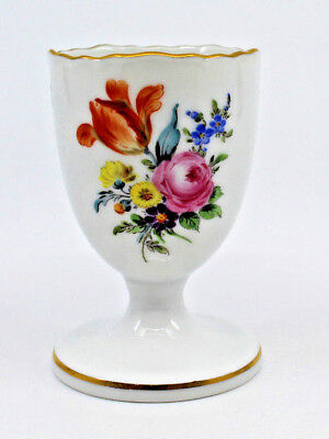 Meissen Germany Porcelain White Egg Cup Stand Gold Trim Multi Color Flowers Rare