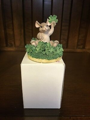 Charming Tails GOOD LUCK Mouse In Shamrocks Clover w/ Box 97/716