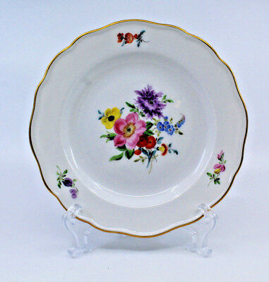 Meissen Germany Porcelain Wall Hanging Plate White Multi Color Flowers Gold Trim