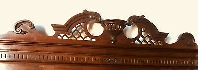 Hand Carved Large Victorian antique overmantle mirror