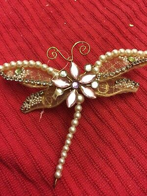 Victorian Style Beaded Dragonfly Christmas Ornament