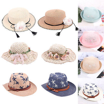 Summer Kids Baby Girls Boys Toddlers Caps Floral Cowboy Straw Sun Wide Brim  Hats 0ae371936e69