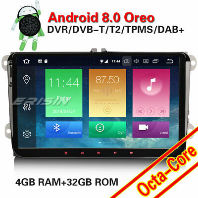 """9"""" Car Stereo Android 8.0 DAB+ GPS OPS For VW Passat Eos Golf Touran Polo Skoda"""