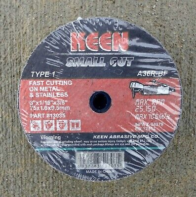 "25 pc. - Keen Brand, 3"" x 1/16"" x 3/8"" - Small, Metal Cutoff Wheels."