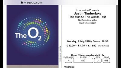 Justin Timberlake seated tickets x2 Monday 9th of July London O2 Arena