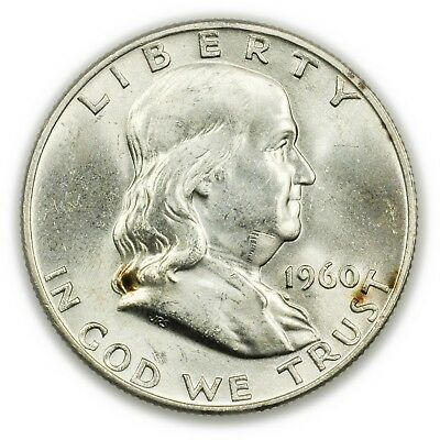 1960-D Franklin Half Dollar, Large, Uncirculated, Silver Coin [3760.05]