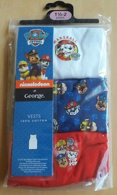 3 Paw Patrol Vests 18-24 Months George. New. Bnwt. Chase. Rubble. Marshall.