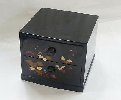Lacquered Wood Box with Drawers