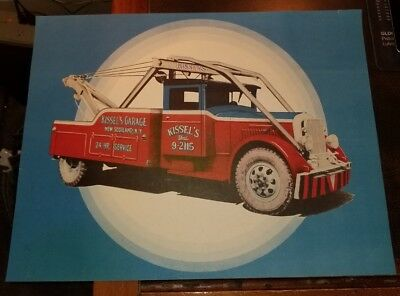 VINTAGE 1940s KISSEL'S GARAGE TOW TRUCK NEW SCOTLAND NY POSTER SIGN