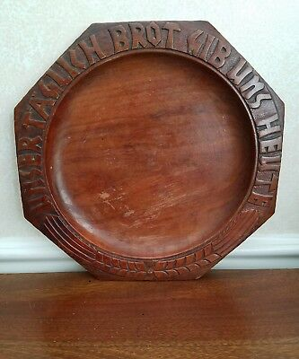 Vintage Wooden Bread Plate Communion Tray Hand Carved Lord's Prayer German Daily