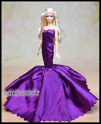 New Barbie doll clothes outfit princess wedding dress gown purple satin gown.