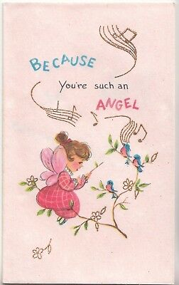 Unused pretty little angel blue birds vintage pink birthday pretty little angel blue birds vintage pink birthday greeting card m4hsunfo