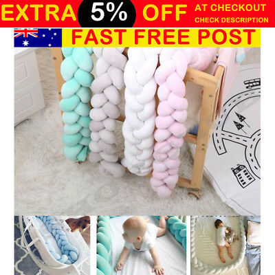 1/2/3M Baby Infant Plush Crib Bumper Bed Bedding Cot Braid Pillow Pad Protector